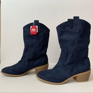 American Eagle Blue Cowboy Boot Perforated Upper